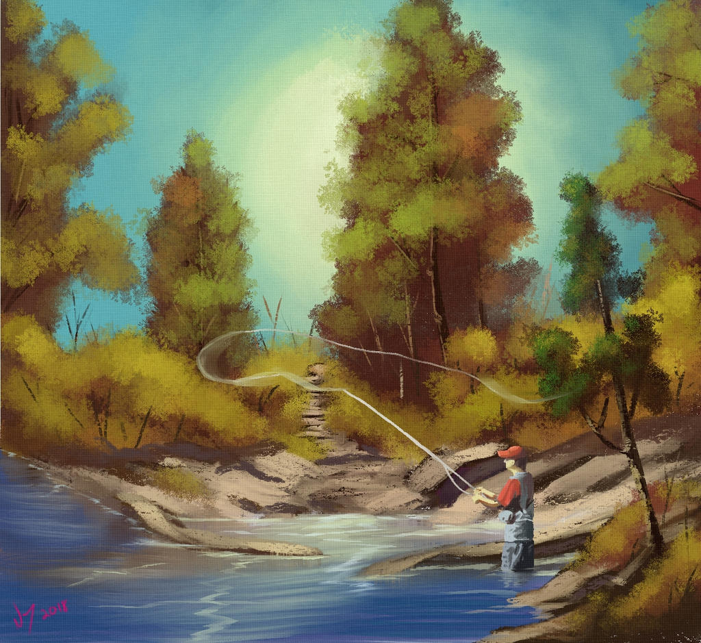 Fly Fishing painting landscape Bob Ross by discipleneil777