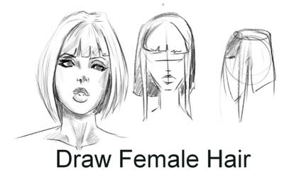How To Draw cute female hair