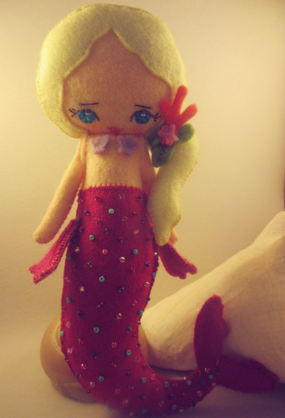 Pink mermaid felt doll plushie by CassWalker