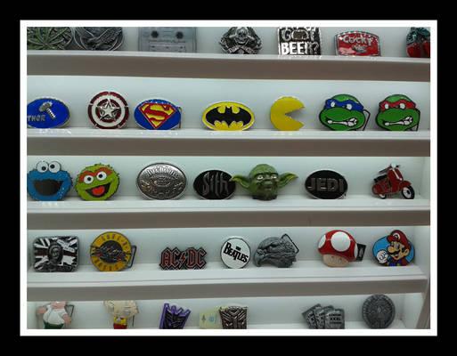 Shelf of badges
