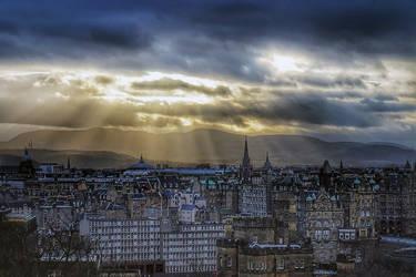 Edinburgh Light Beams by WillTC
