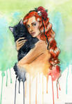 Ginger girl and cat