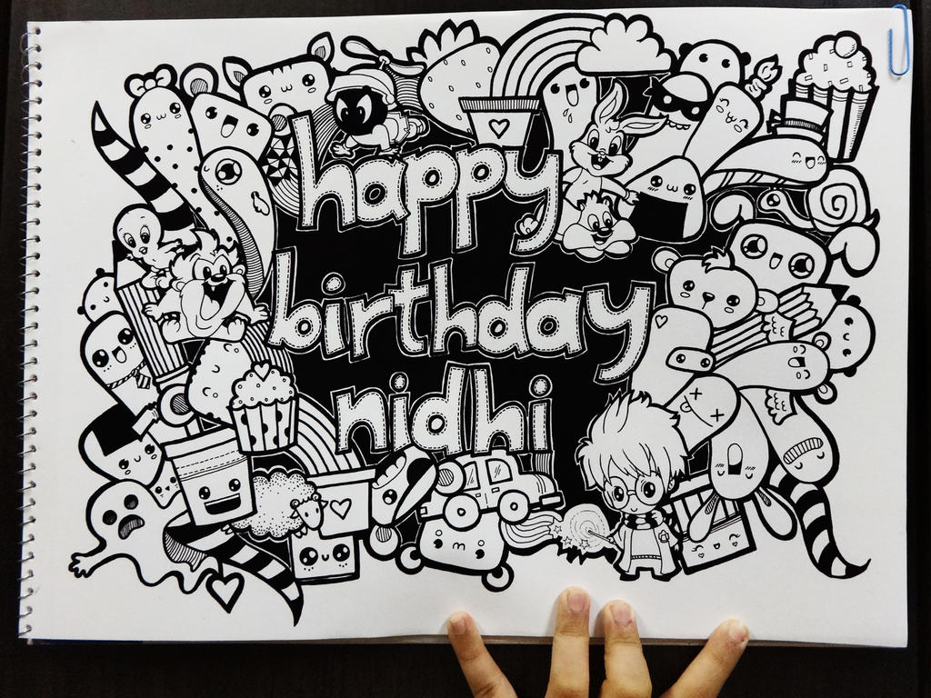 Birthday doodle by piccandle on deviantart for How to doodle names