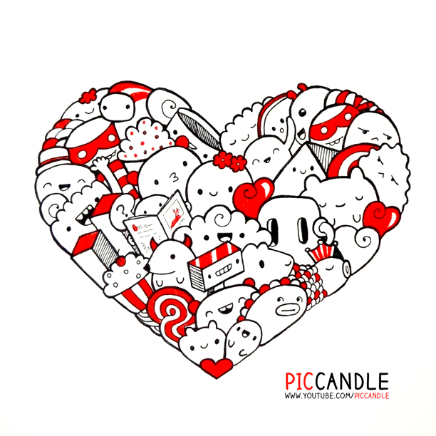 Heart doodle by piccandle on deviantart for Doodle characters