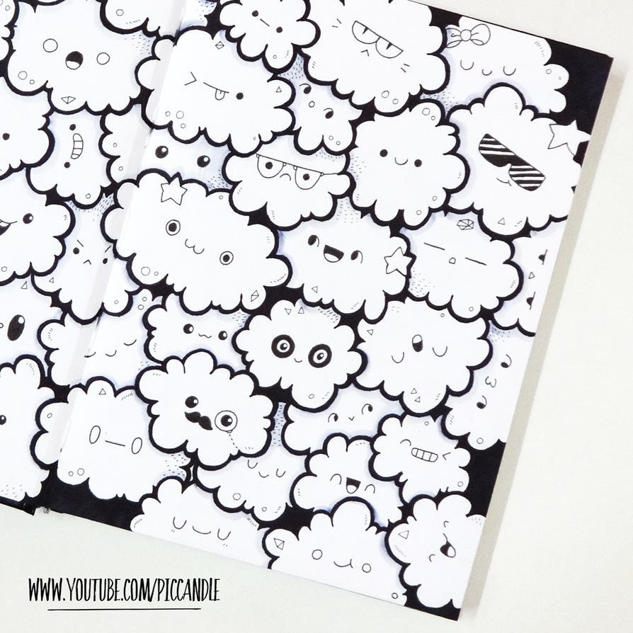 Cute little clouds full page doodle video by piccandle for Small art drawings