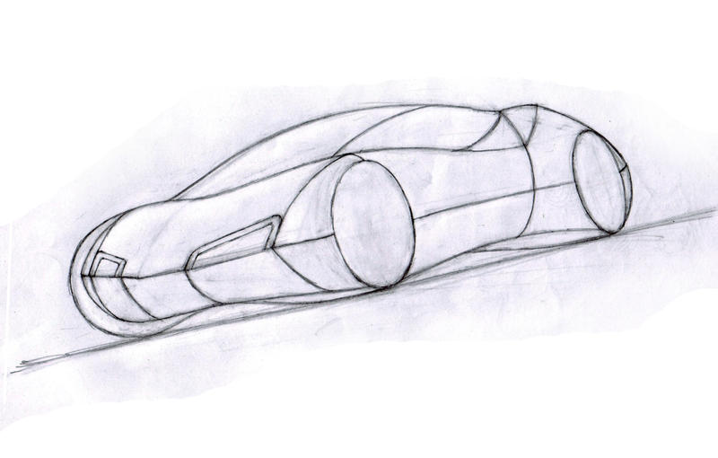Concept car pencil sketch by reservoirsuli