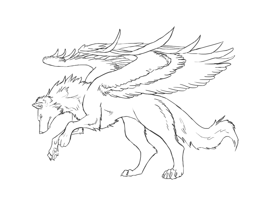 winged wolf lineart grey by bolthound on DeviantArt