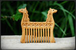 Wooden hair comb Dragons