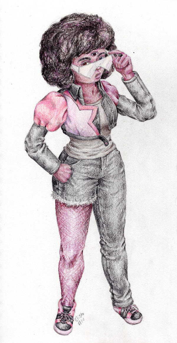 Street Clothes Garnet in colored pencil