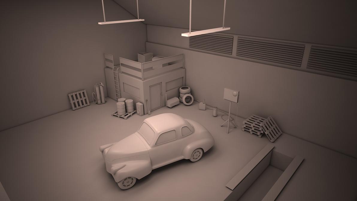 3d wip garage scene by y50p on deviantart. Black Bedroom Furniture Sets. Home Design Ideas