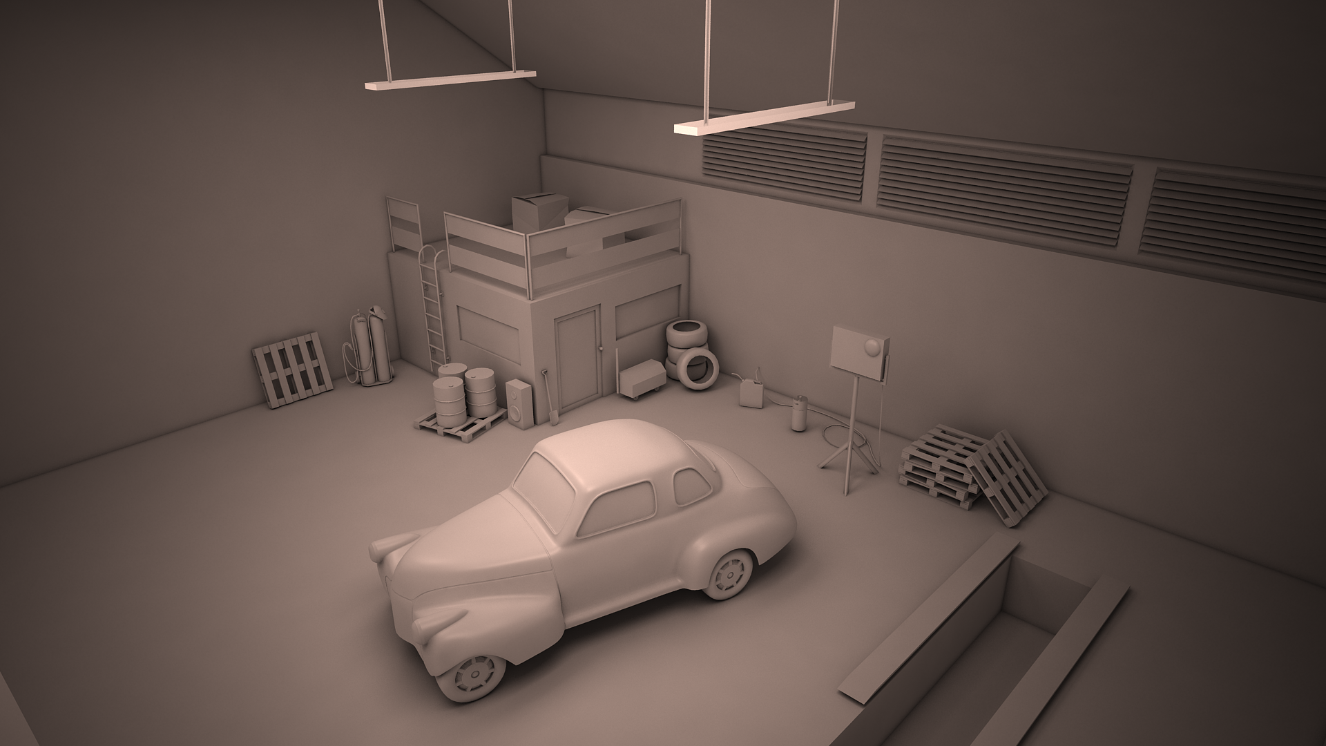 3d wip garage scene by y50p on deviantart
