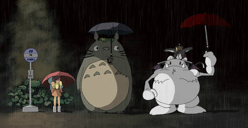Totoro and Cait Sith by SarahCEhm