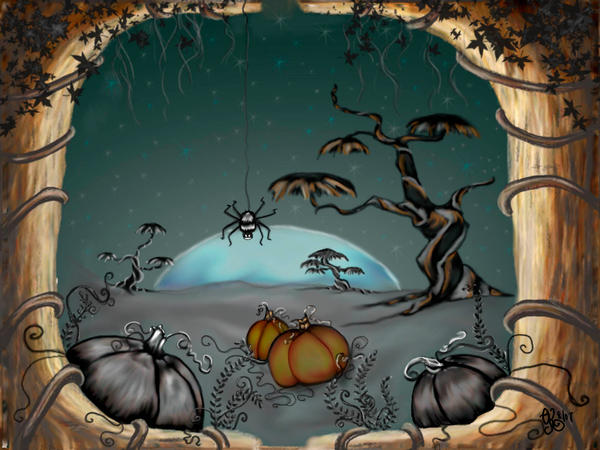 halloween fantasy landscape by concettasdesigns