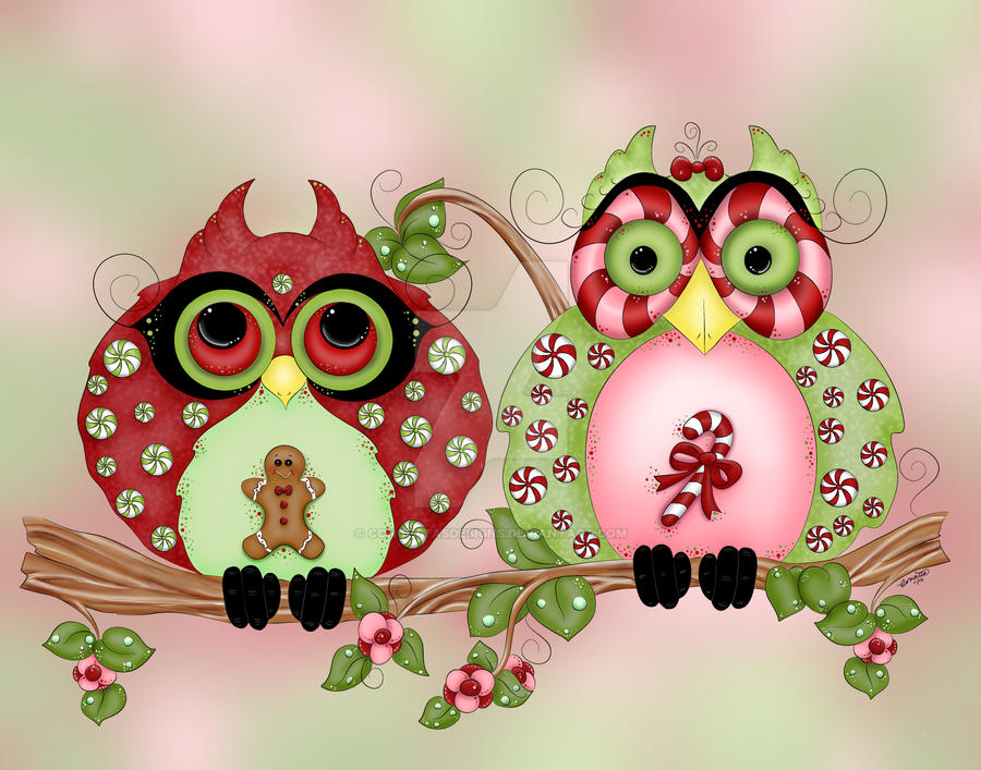 Mr. and Mrs. Christmas Sweets Fantasy Owl Art by concettasdesigns