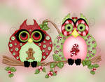 Mr. and Mrs. Christmas Sweets Fantasy Owl Art