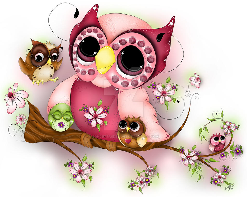 Under Her Wings - Mother's Day Owl Art - Fantasy by concettasdesigns