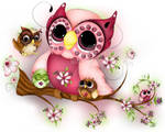 Under Her Wings - Mother's Day Owl Art - Fantasy