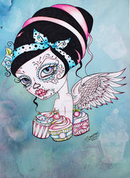 Cupcake Cutie - Pop Surreal Day of the Dead Art