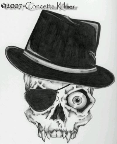 Skull with Top Hat by concettasdesigns