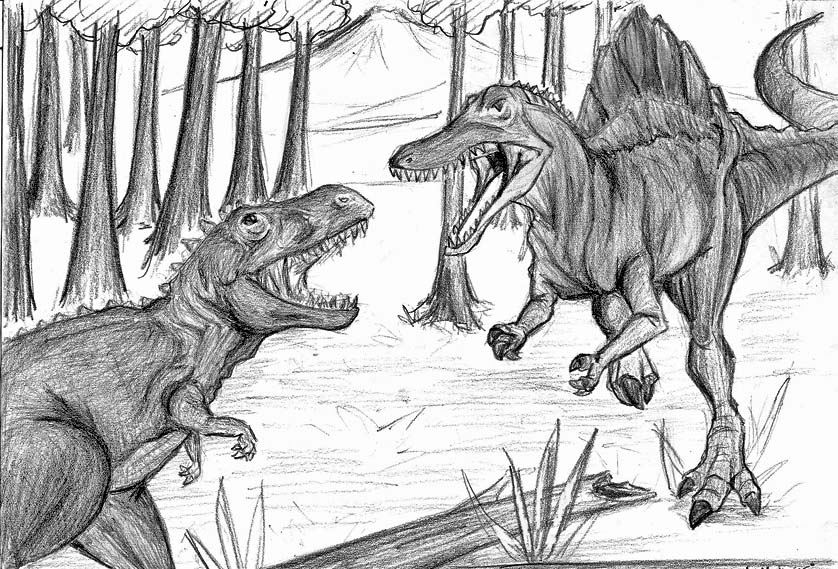 t rex and spinosaurus coloring pages - photo #18