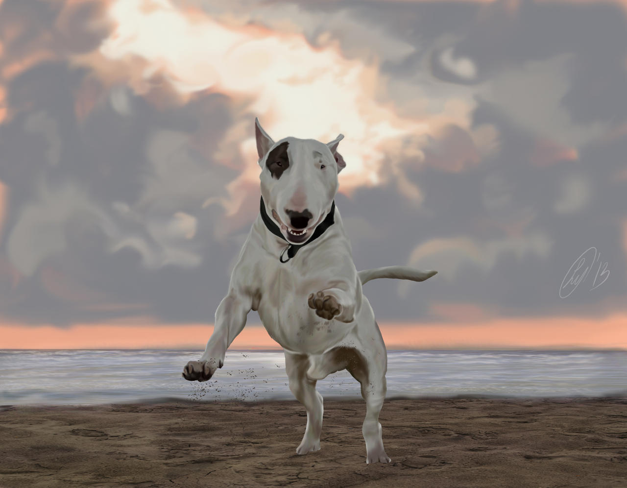 English Bull Terrier Painted By LuckyJellyfish On DeviantArt - Bull terrier art