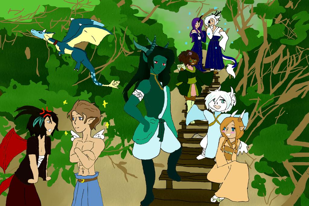 Forset with friends by kiokopup