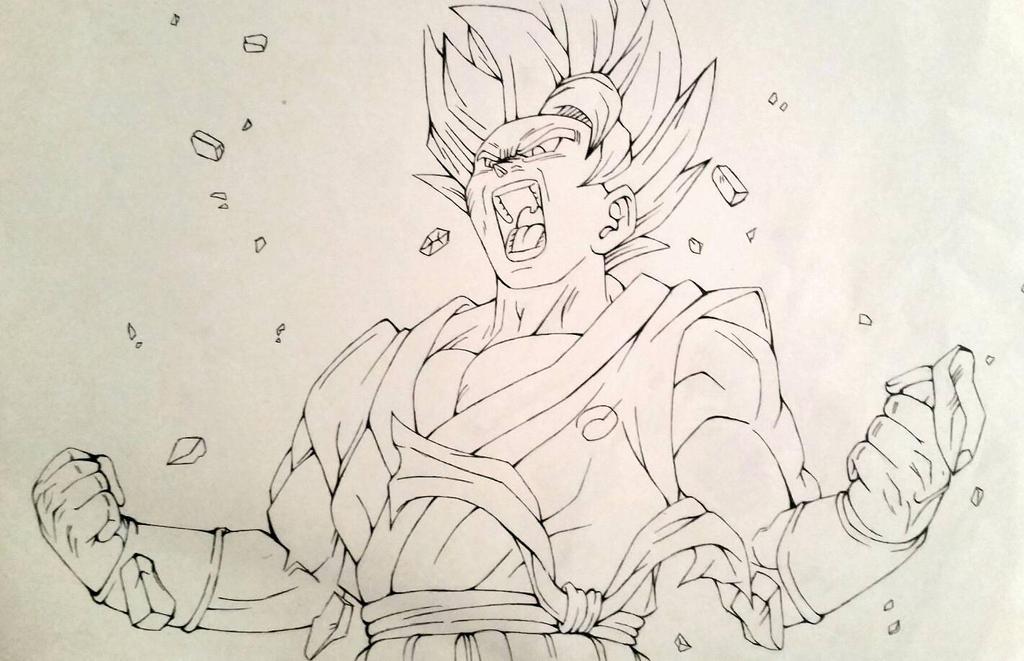 Goku Black Ssj Rose Para Colorear: Goku Super Saiyan God Kaioken Inw By Japanda82 On DeviantArt