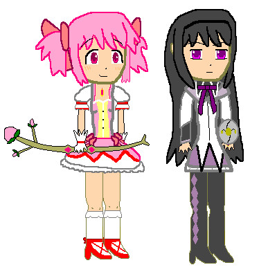 Madoka and Homura with their weapons by MetalGearTom