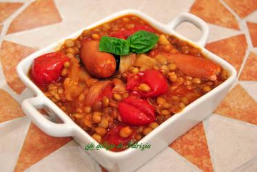 Stufato di lenticchie con salamelle