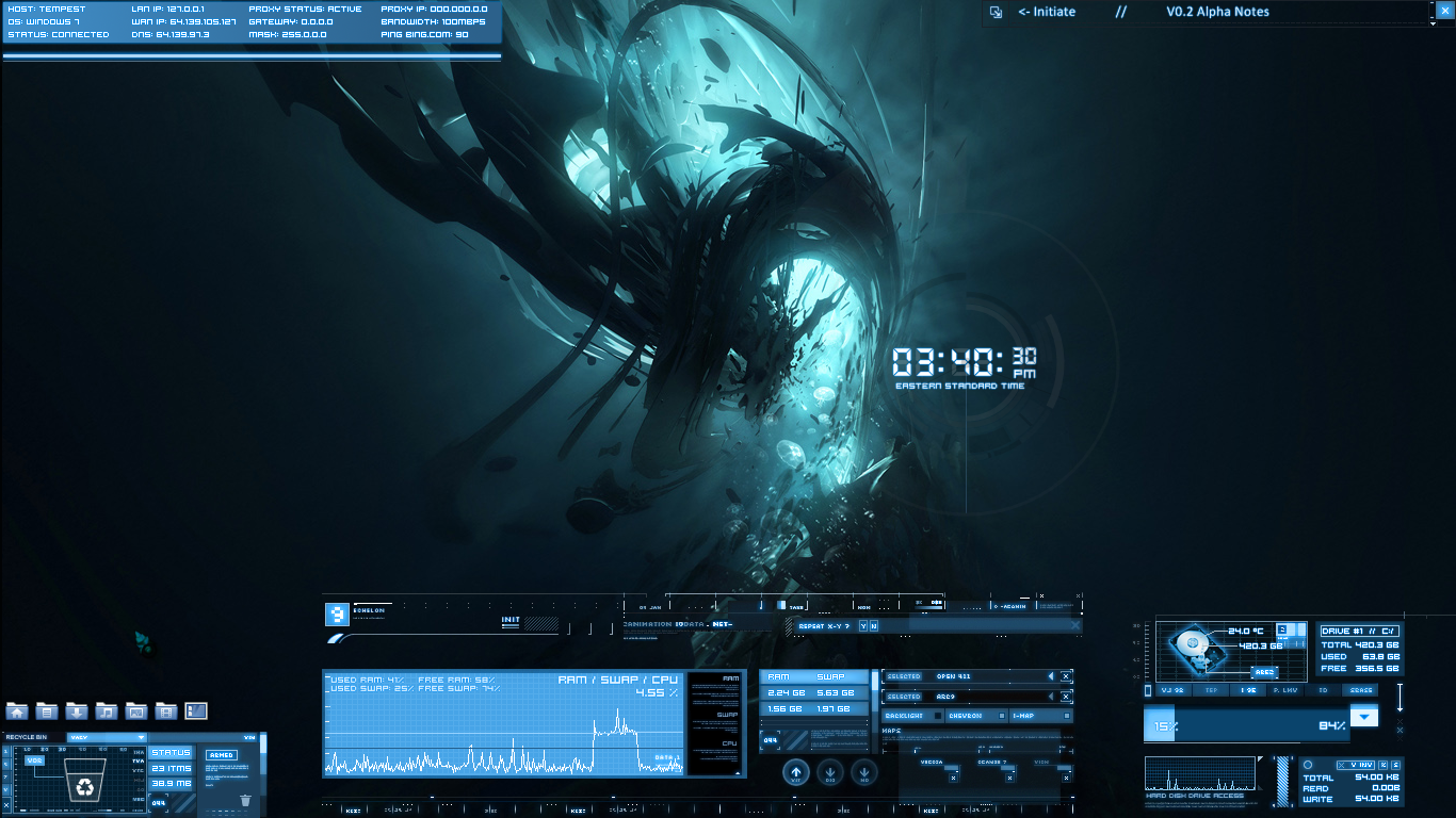 Laptop windows 7 rainmeter by findae on deviantart for Bureau windows 7 rainmeter