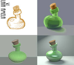 Bottle, from concept to 3D art