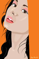 ILLUSTRATION WITH ORANGE BACKGROUND by mambographic