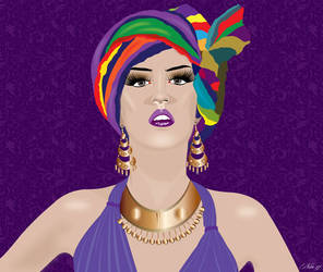 ILLUSTRATION OF MODEL WITH TURBAN by mambographic