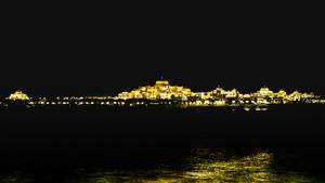 Abu Dhabi Royal Palace at Night in Gold