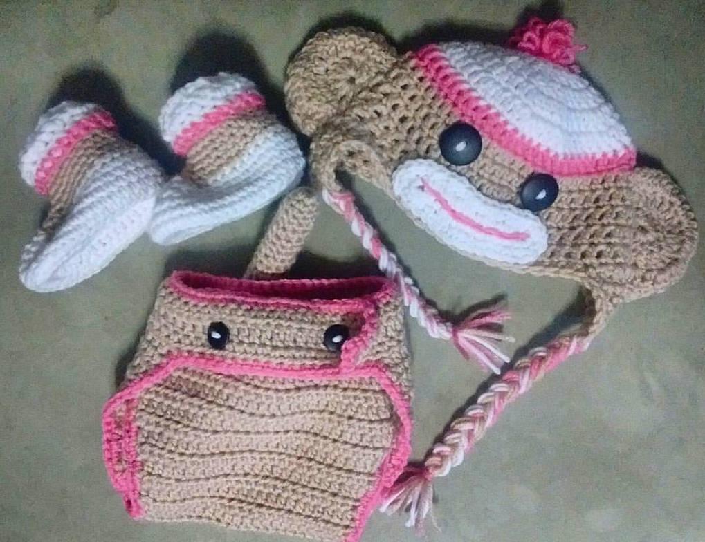 Crochet Sock Monkey Hat And Diaper Cover Set By Savanta On Deviantart