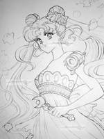 princess serenity line art by aramismarron