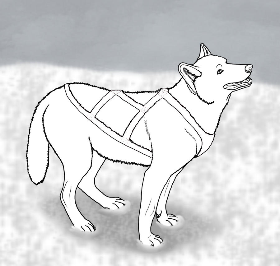 Sled Dog Lineart By Dogboy09