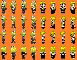 Vocaloid: Rin and Len sprite sheets by PyroDemonX