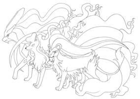 Fabulous mane: Pyroleo, Vulnona, Suicune by Megaloceros-Urhirsch