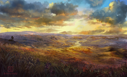 Twillight over the moorlands by MalthusWolf