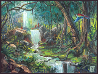 Jungle tangle (gouache practice #3) by MalthusWolf