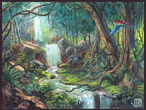 Jungle tangle (gouache practice #3)