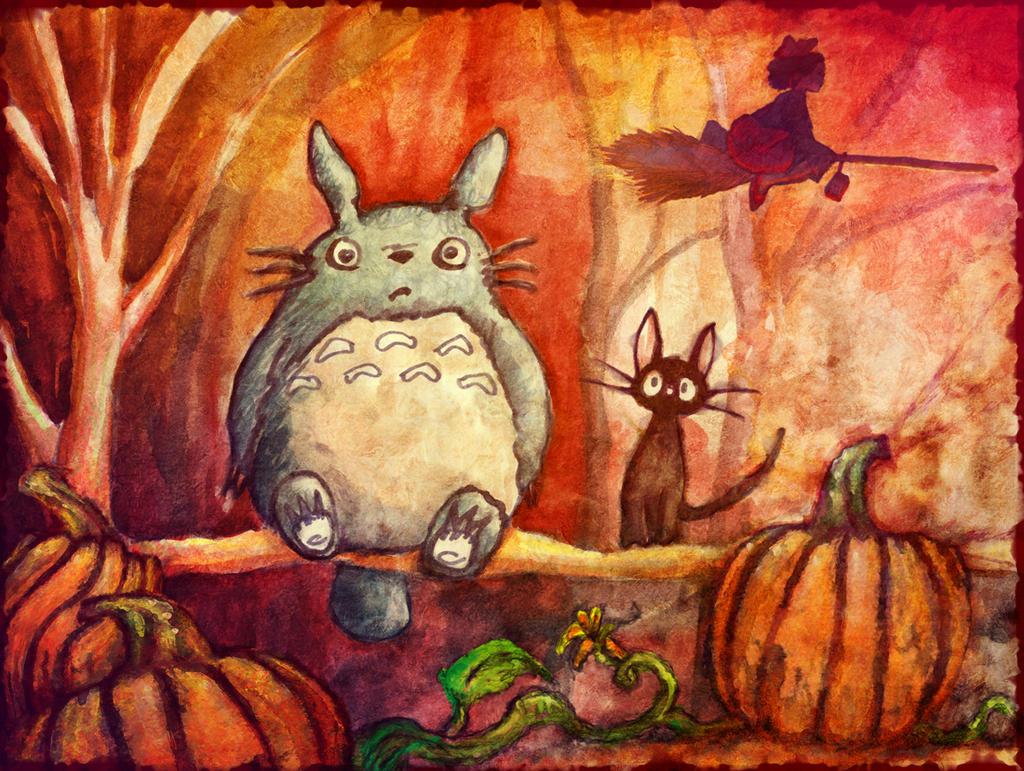 Totoro Kiki and Jiji Halloween by 5bodyblade
