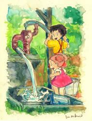 Totoro - Satsuki and Mei Gathering Water