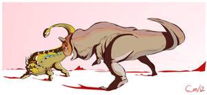 Carnotaurus vs. Euoplocephalus
