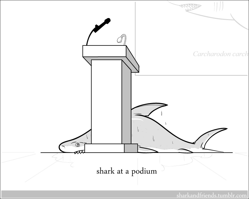 Shark at a podium by Wenamun