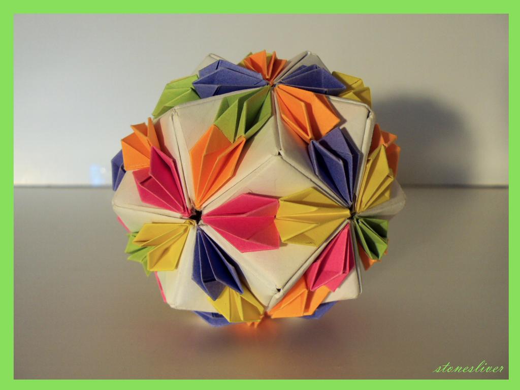 Origami confetti kusudama by stonesliver on deviantart origami confetti kusudama by stonesliver jeuxipadfo Gallery