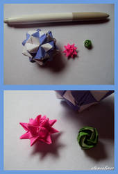 Tiny Rose, Moravian Star, and Sonobe Ball