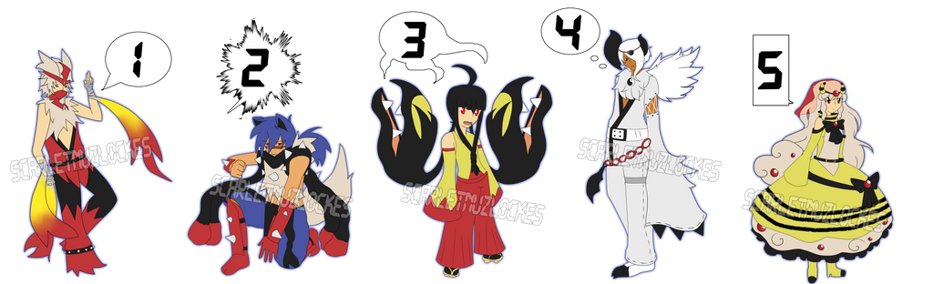 Mega Gijinka Adopts (1 Left) by xXScarletStarletXx