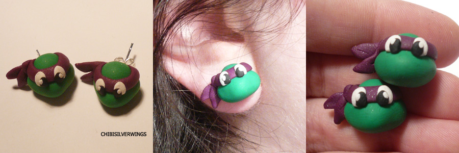 Donatello Earrings by ChibiSilverWings